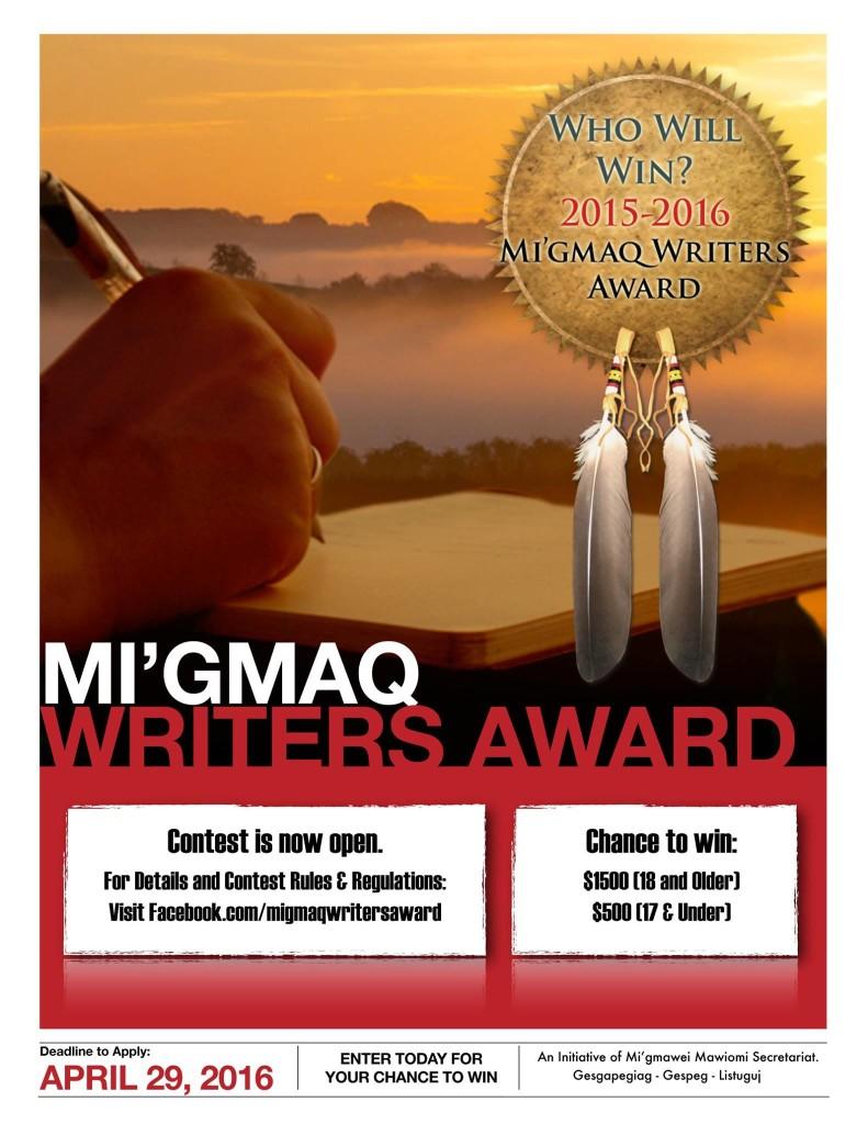 Migmaq Writers Award Poster