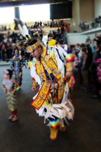 Craig Isaac is known for his spirited dances. He was one of the Listuguj Mi'gmaq to support the UNB cultural event, one of the few winter Pow Wows in the province. (Photo: Lucy Peter-Paul)